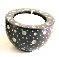 Round Cup Shaped Tea Light Soapstone Candle Holder Black With Etched Dot Design Hand Carved- 6cm