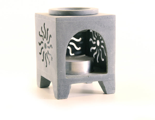 Square Soapstone Tea Light Aroma Lamp Carved Window Design - Sun