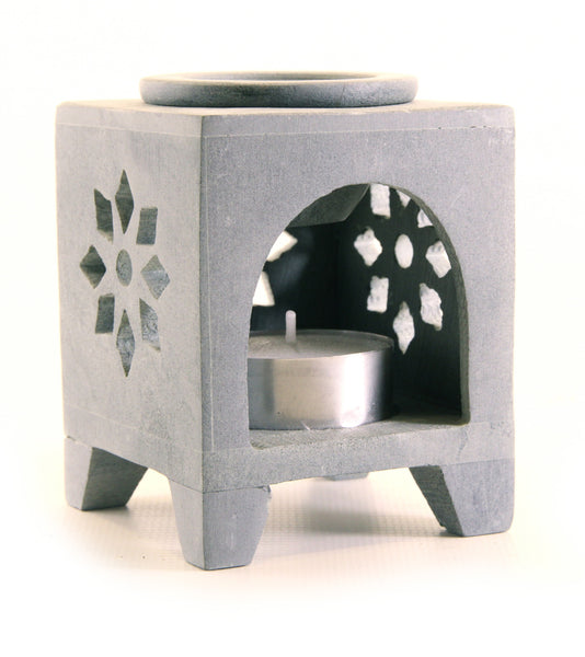 Square Soapstone Tea Light Aroma Lamp Carved Window Design - Star