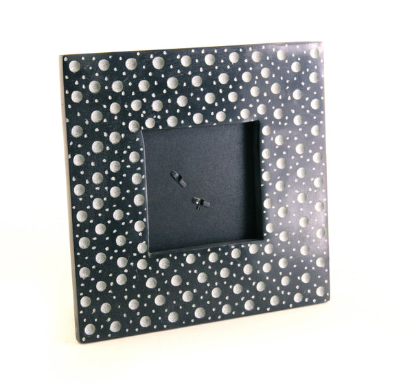 Square Photo Frame Black Soapstone Carved Abstract Dot Design - 14cm