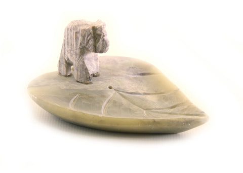 Elephant On Leaf Incense Tray Hand Carved Natural Soapstone - 7.5cm