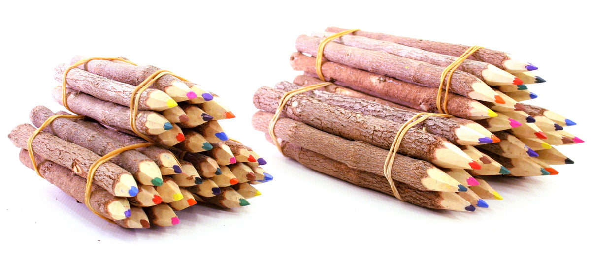Natural Wooden Bush Pencils Mixed Colour Pack Of 10
