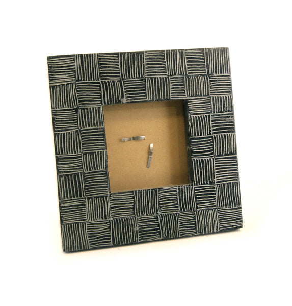 Square Photo Frame Black Soapstone Carved Etched Line Design - 12cm