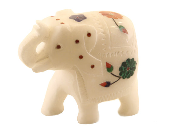 Elephant Figurine Trunk Raised Hand Carved Alabaster With Gemstone Inlay Design - 6.5cm