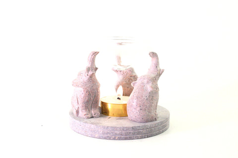 3 Elephant Sitting Soapstone Oil Diffuser Tea Light Candle Holder Hand Carved - 10cm