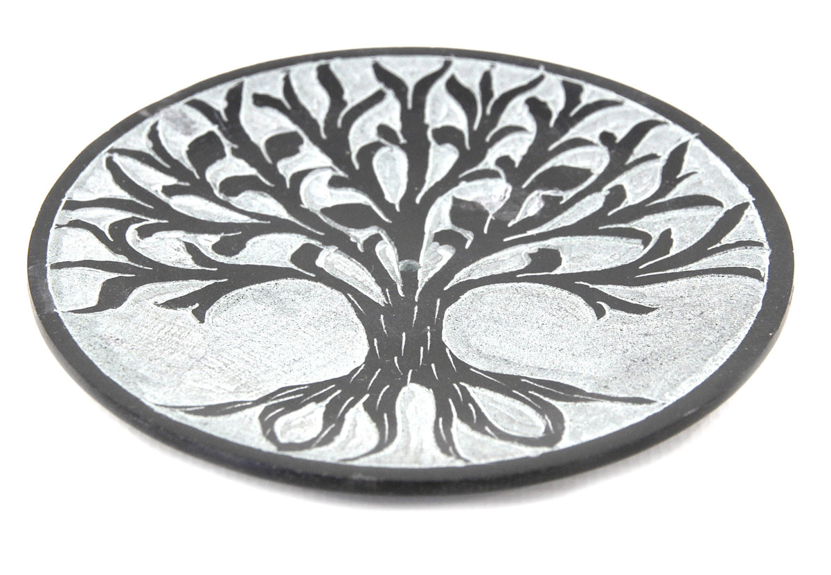Hand Carved Circle Tree Of Life Incense Plate Black - 10cm