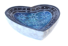 Heart Shape Dish Hand Carved Soapstone Etched Design Blue Colour - 10cm