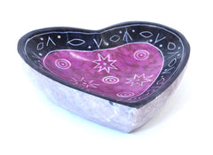 Heart Shape Dish Hand Carved Soapstone Etched Design Purple Colour - 10cm