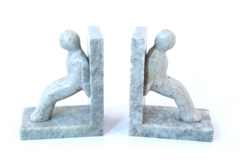 Leaning Figures Statue Book-End Pair Hand Carved Grey Soapstone On Polished Base - 10cm