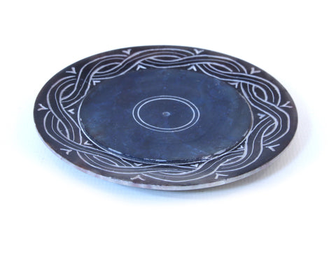 Blue Hand Carved Circle Incense Holder Etched Patterned Design - 10cm