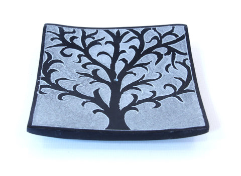 Hand Carved Square Tree Of Life Incense Plate Black - 10cm