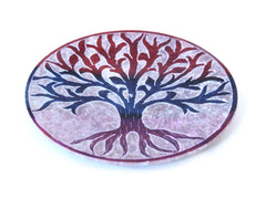 Hand Carved Circle Tree Of Life Incense Plate Colour - 10cm