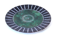 Green Hand Carved Circle Incense Holder Etched Patterned Design - 10cm