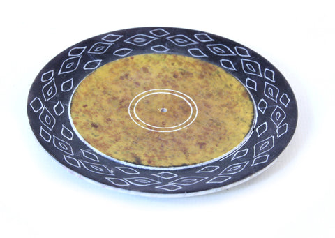 Yellow Hand Carved Circle Incense Holder Etched Patterned Design - 10cm