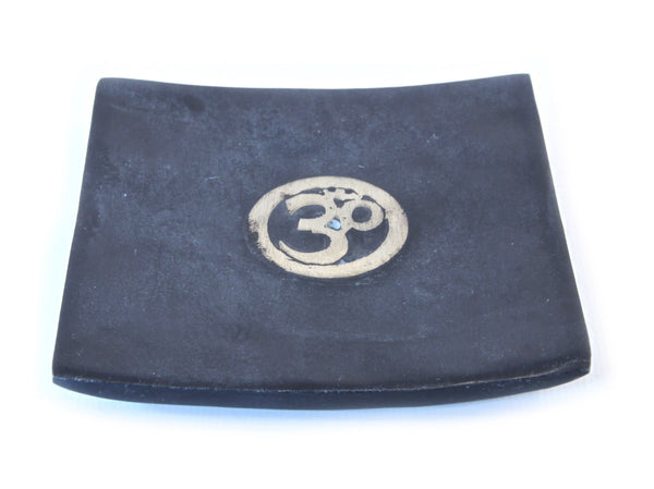 Hand Carved Square Incense Plate Black With Om Symbol - 10cm