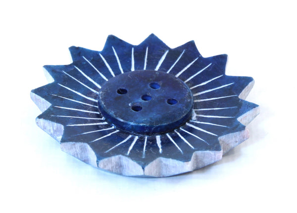 Small Turquoise Soapstone Incense Plate Lotus Shape - 5cm