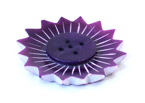 Small Purple Soapstone Incense Plate Lotus Shape - 5cm