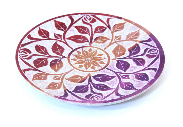 Hand Carved Circle Leaf and Floral Design Incense Plate Multi Colour - 10cm