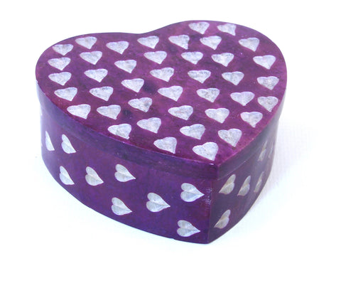 Heart Shaped Hand Carved Purple Soapstone Jewellery Box with Etched Heart Design - 7cm