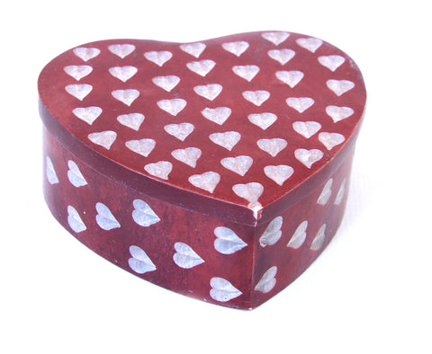 Heart Shaped Hand Carved Red Soapstone Jewellery Box with Etched Heart Design - 7cm