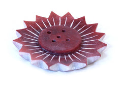Small Red Soapstone Incense Plate Lotus Shape - 5cm