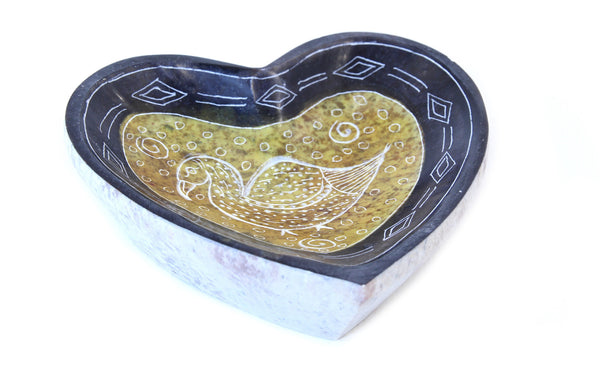 Heart Shape Dish Hand Carved Soapstone Etched Design Yellow Colour - 10cm