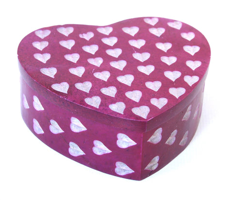 Heart Shaped Hand Carved Pink Soapstone Jewellery Box with Etched Heart Design - 7cm