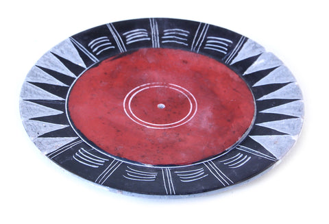 Red Hand Carved Circle Incense Holder Etched Patterned Design - 10cm