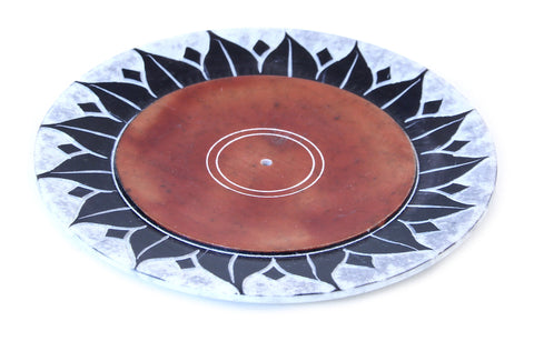 Orange Hand Carved Circle Incense Holder Etched Patterned Design - 10cm