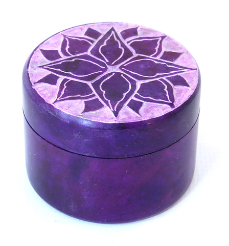Small Round Soapstone Jewellery Box Purple Etched Lotus Design Hand Carved - 5cm