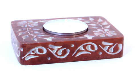 Rectangle Soapstone Tea Light Candle Holder Red with Etched Flower Design Polished Hand Carved - 8cm