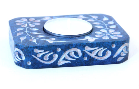 Rectangle Soapstone Tea Light Candle Holder Turquoise with Etched Flower Design Polished Hand Carved - 8cm