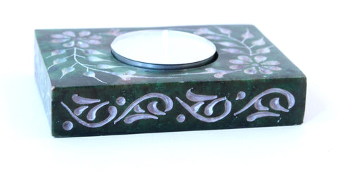 Rectangle Soapstone Tea Light Candle Holder Green with Etched Flower Design Polished Hand Carved - 8cm