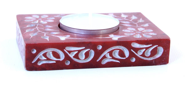 Rectangle Soapstone Tea Light Candle Holder Orange with Etched Flower Design Polished Hand Carved - 8cm