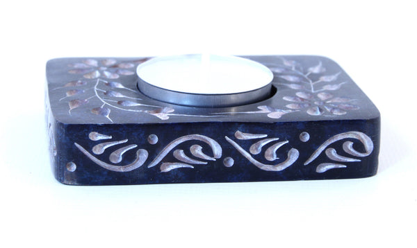 Rectangle Soapstone Tea Light Candle Holder Blue with Etched Flower Design Polished Hand Carved - 8cm