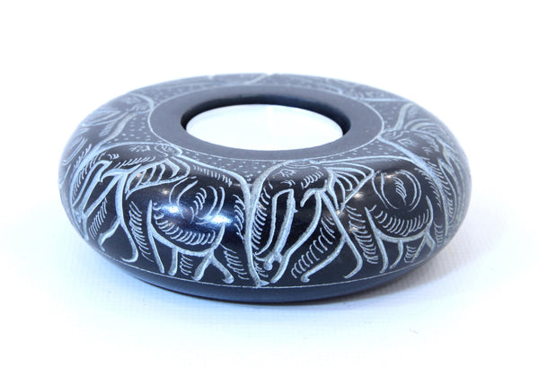 Circle Curved Elephant Engraved Tea Light Candle Holder Hand Carved Black Soapstone - 10cm