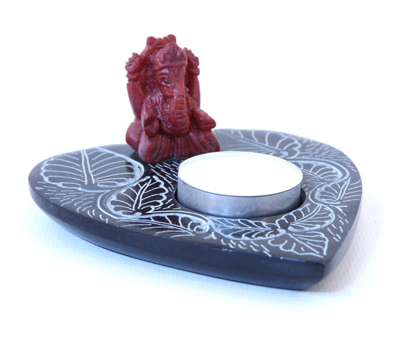 Miniature Ganesh Soapstone Tea Light Candle Holder Black Polished Hand Carved - 12cm