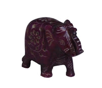 Elephant with Flower Design Figurine Hand Carved Soapstone Purple - 5cm