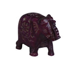 Elephant with Flower Design Figurine Hand Carved Soapstone Purple - 6.25cm