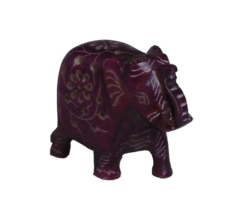 Elephant with Flower Design Figurine Hand Carved Soapstone Purple - 7.5cm