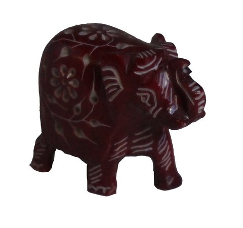 Elephant with Flower Design Figurine Hand Carved Soapstone Red - 6.25cm