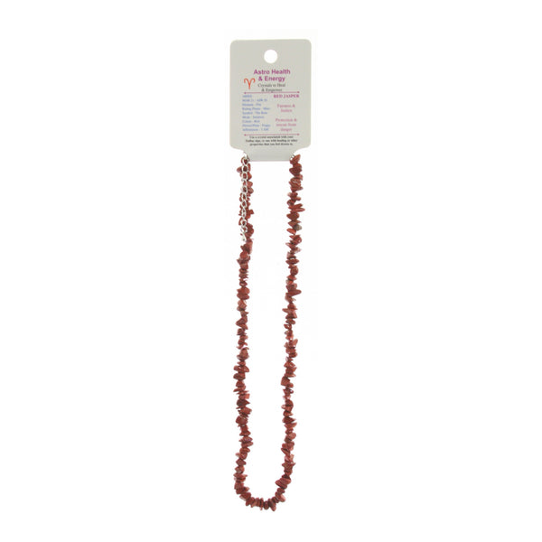 Red Jasper Crystal Chip Elastic Horoscope Necklace - Star Sign Aries