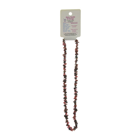 Rhodonite Crystal Chip Elastic Horoscope Necklace - Star Sign Taurus