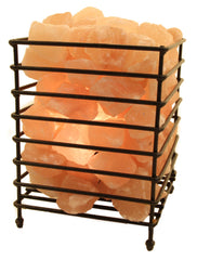Rectangle Shape Fire Bowl Cage With Loose Salt Chunks Himalayan Salt Lamp with Base and Electrical Kit