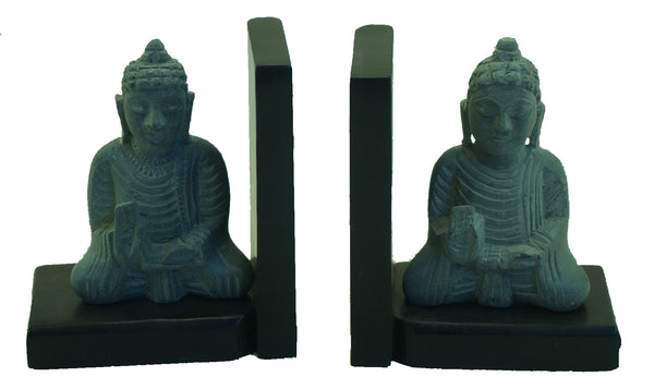 Buddhas Sitting Statue Book-End Pair Hand Carved Grey Soapstone On Black Polished Base - 10cm