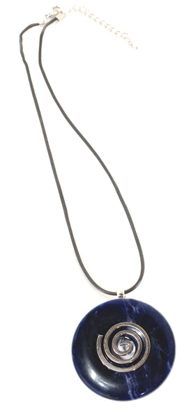 Sodalite Crystal Necklace Donut Shape Pendant Shaped and Polished