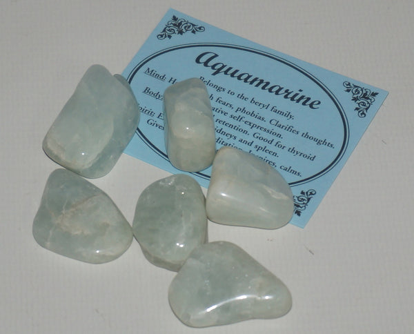 Aquamarine Crystal Set of 12 Tumbled Stones Smoothed and Polished - 1x2cm