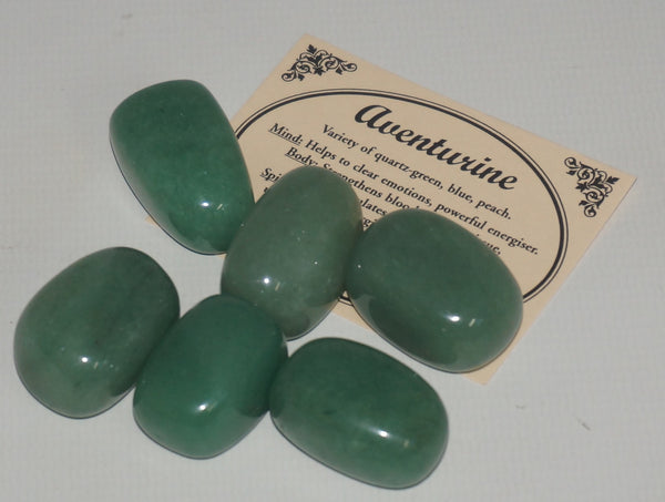 Aventurine Crystal Set of Tumbled Stones Smoothed and Polished - 2x3cm