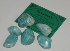 Amazonite Crystal Set of 12 Tumbled Stones Smoothed and Polished - 1x2cm