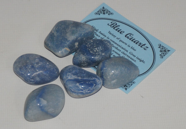 Blue Quartz Crystal Set of Tumbled Stones Smoothed and Polished - 2x3cm